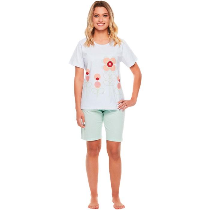 Pijama Sonhart Manga Curta e Bermuda Florido