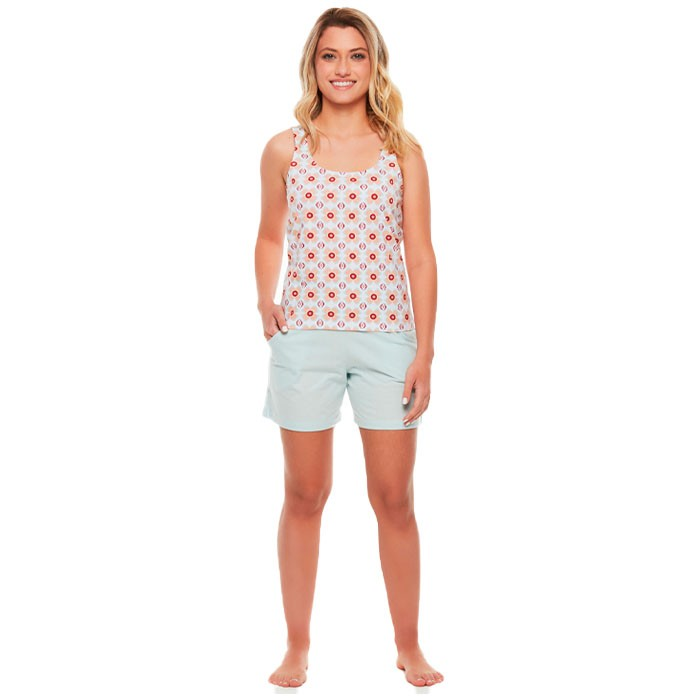 Pijama Sonhart Regata e Bermuda Florido