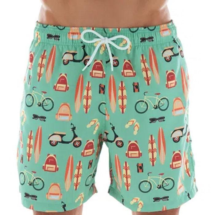 Shorts Mash Estampado Ícones Praia