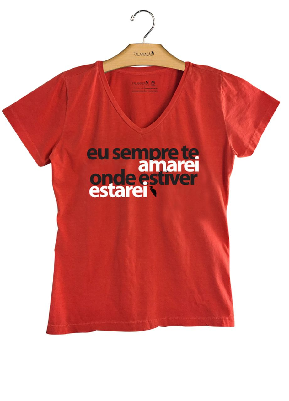 T-Shirt Feminina Sempre te Amarei - Vermelha