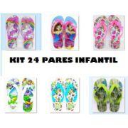 Kit  24 pares de Chinelos Infantil Feminino . Estampas Sortidas