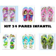 Kit pronta entrega 24 pares de Chinelos Infantil Adulto. Estampas Sortidas