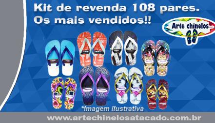 Kit 108 pares de chinelos no atacado + Expositor + Frete Grátis*. Mais vendidos