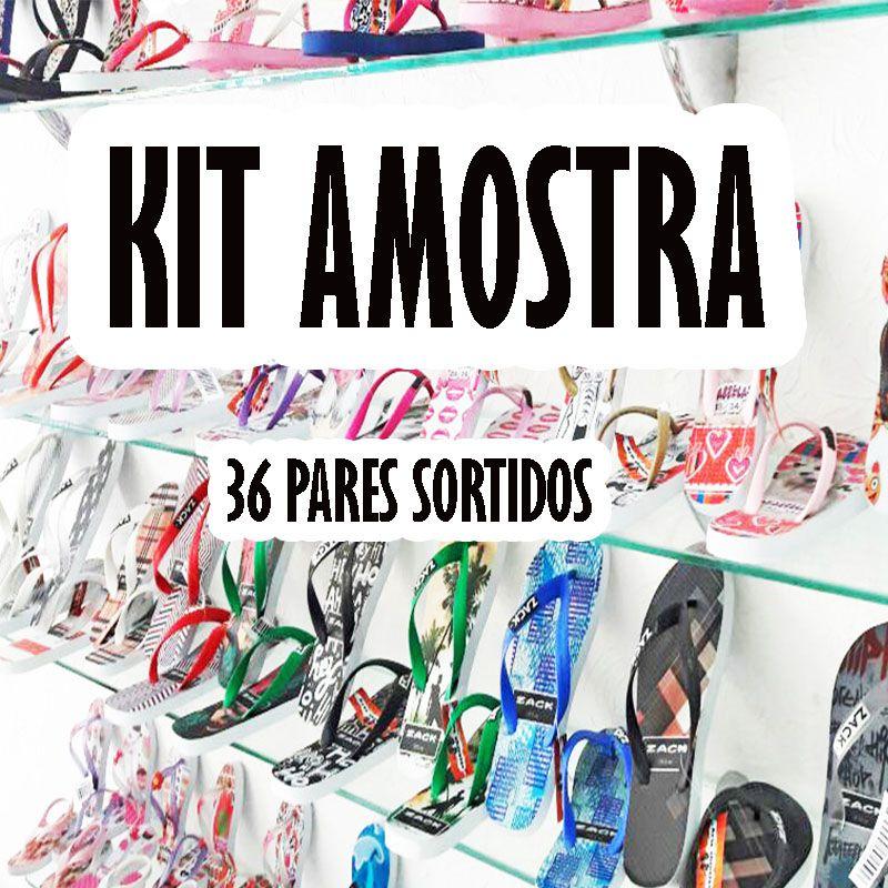 Kit Amostra com 36 pares de chinelos Sortidos. Várias estampas  - Arte Chinelos Atacado