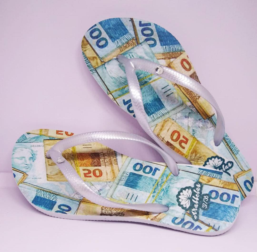 Kit 12 pares de chinelos atacado Arabbelas Money Chinelos nota de dinheiro mod. 001