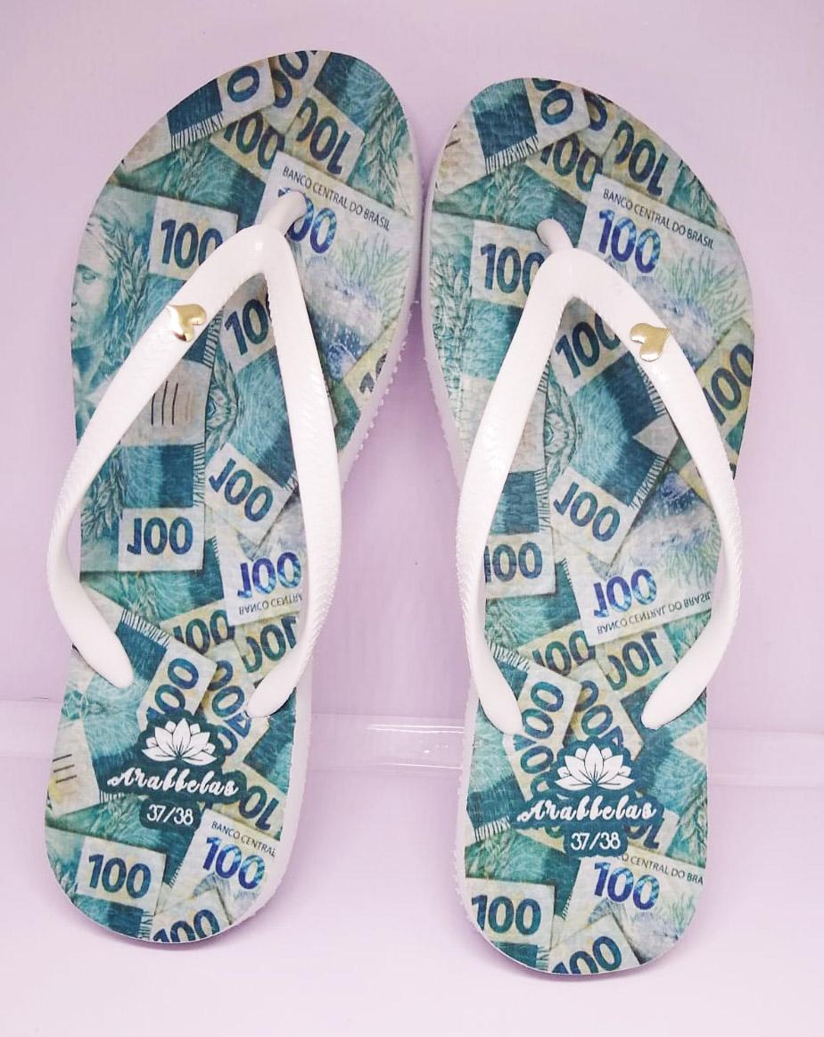 Kit 12 pares de chinelos atacado Arabbelas Money Chinelos nota de dinheiro mod. 002