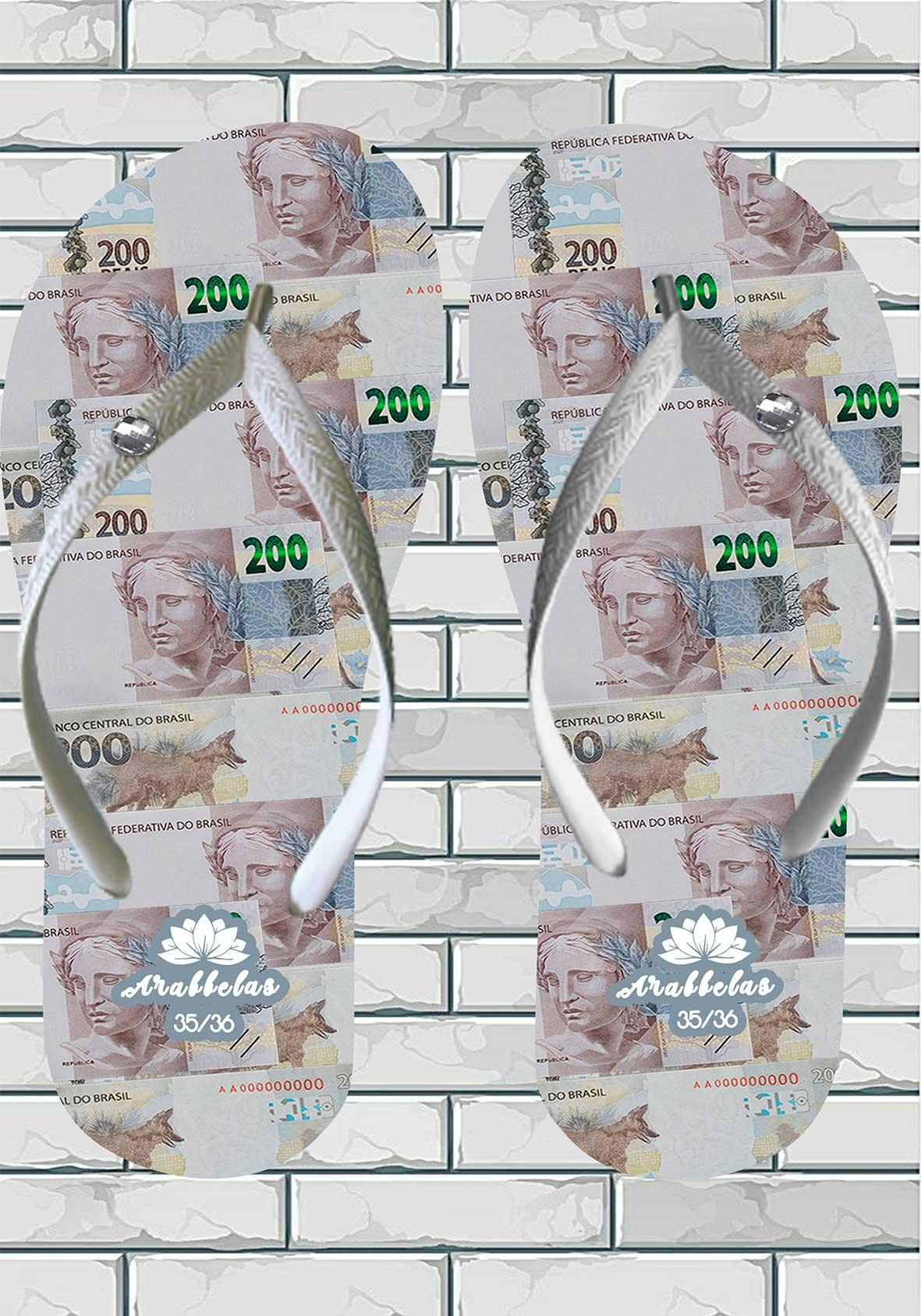Kit 12 pares de chinelos atacado Arabbelas Money Chinelos nota de dinheiro mod. 04