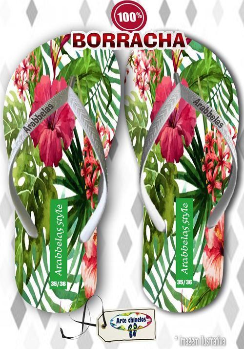Kit com 12 pares de chinelos atacado para revenda Arabbelas Floral  Mod. 01