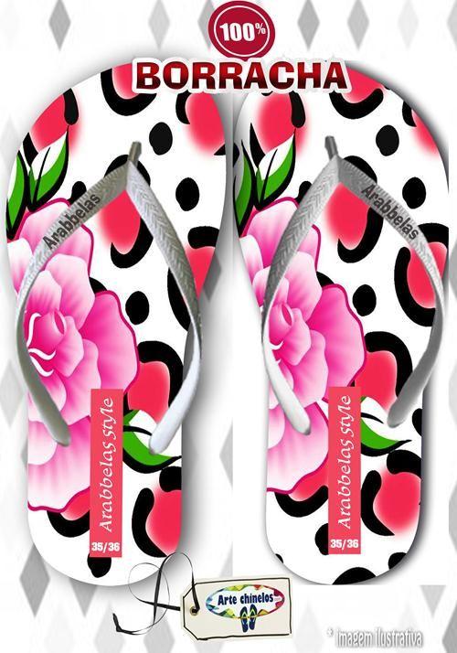 Kit com 12 pares de chinelos atacado para revenda Arabbelas Floral  Mod. 07  - Arte Chinelos Atacado