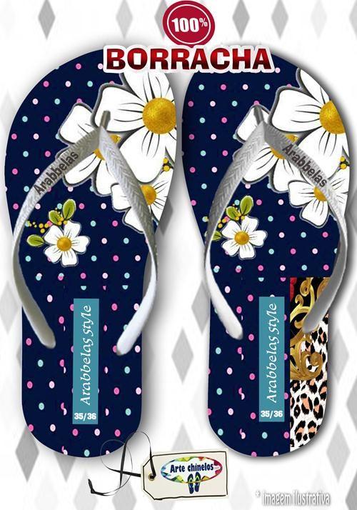 Kit com 12 pares de chinelos atacado para revenda Arabbelas Floral  Mod. 09