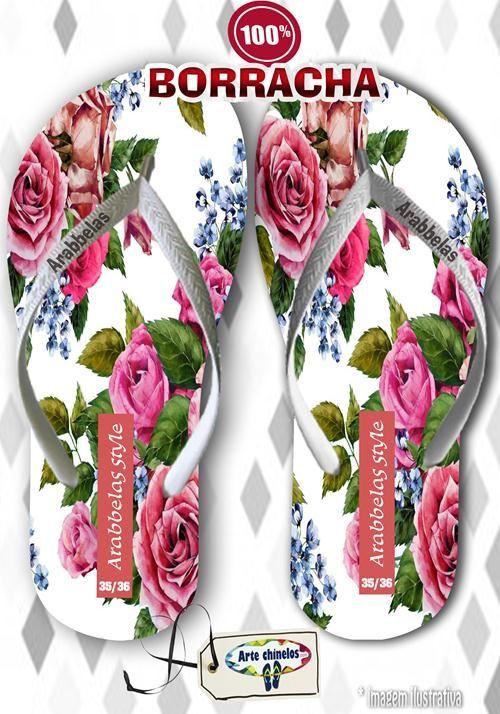Kit com 12 pares de chinelos atacado para revenda Arabbelas Floral  Mod. 11  - Arte Chinelos Atacado