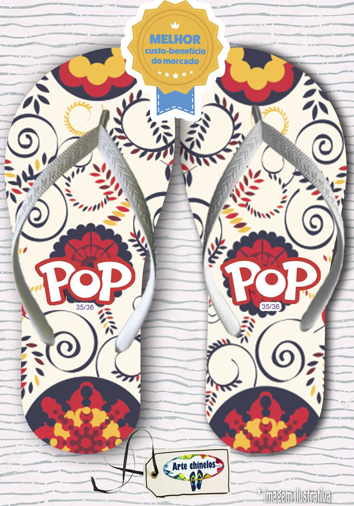 Kit com 12 pares de chinelos linha popular Feminino MOD.03