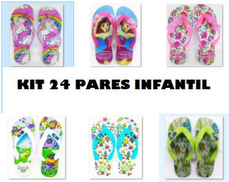 Kit  24 pares de Chinelos Infantil . Estampas Sortidas