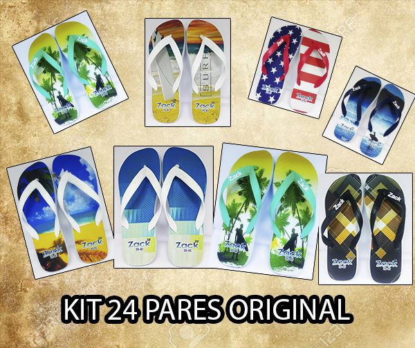Kit  24 pares de Chinelos Masculino Adulto. Estampas Sortidas