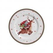 Kit 6 Pratos de Sobremesa Father Christmas 2 Natal Alleanza Natal