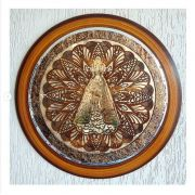 Quadro Decorativo Mandala Nossa Senhora Aparecida Dourada - 65cm Diâmetro
