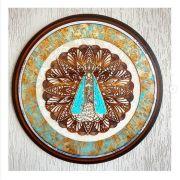 Quadro Decorativo Mandala Nossa Senhora Aparecida Tiffany - 65cm Diâmetro