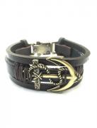 Bracelete náutico com dois tons de marrom e âncora