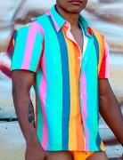 Camisa de botão listras coloridas