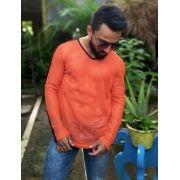 Camiseta furadinha laranja