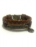Pulseira SMILE em couro marrom liso e trançado.