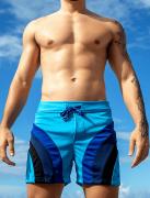 Short azul claro com recortes azul e preto