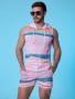Conjunto masculino em malha arrastão colorido