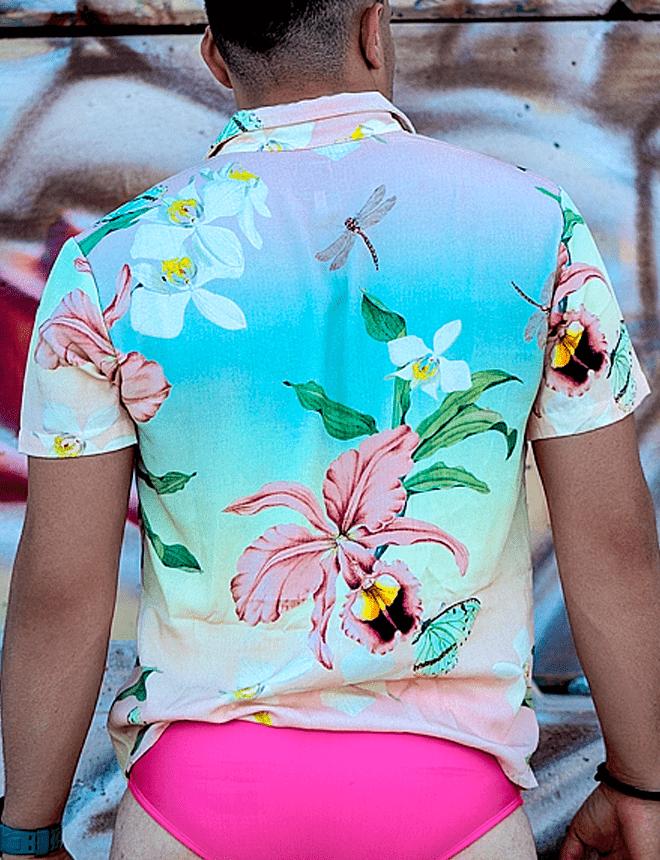 Camisa de botão folhagem com tai dai
