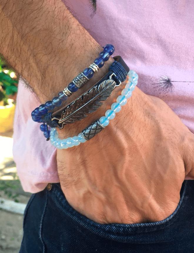 Mix com 3 pulseiras na cor azul (blue 01)
