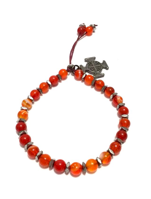 Pulseira em pedra ágata laranja