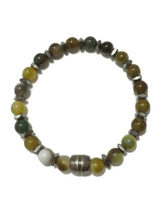 Pulseira em pedras de ágata oliva com hematitas