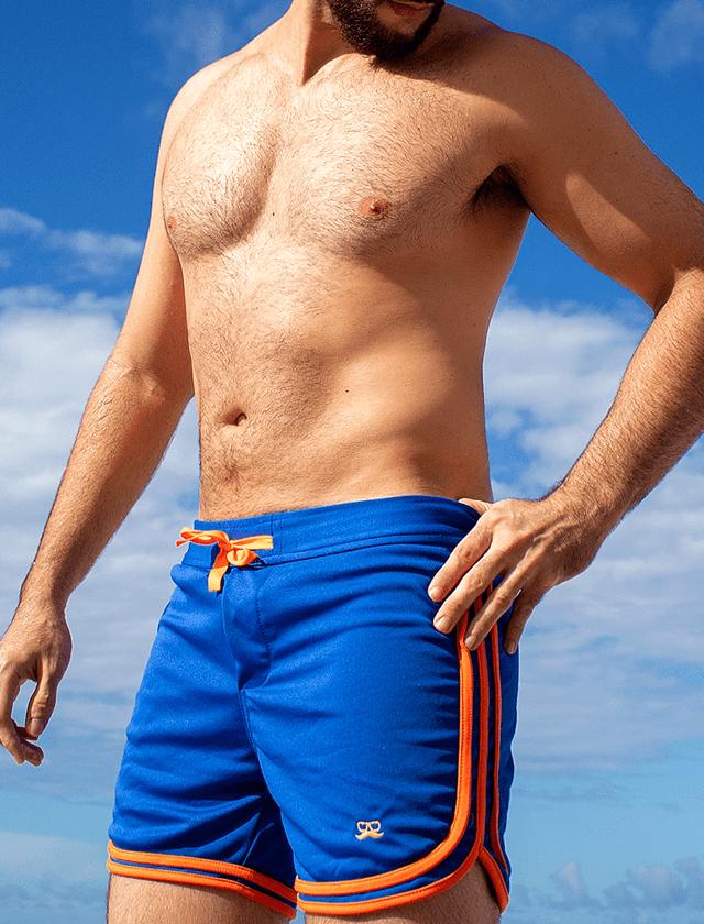 Short azul com 3 viés laranja