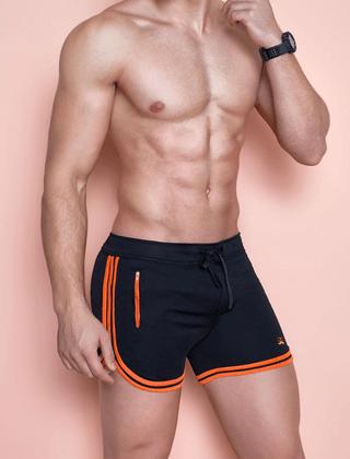 Short curto masculino preto com laranja