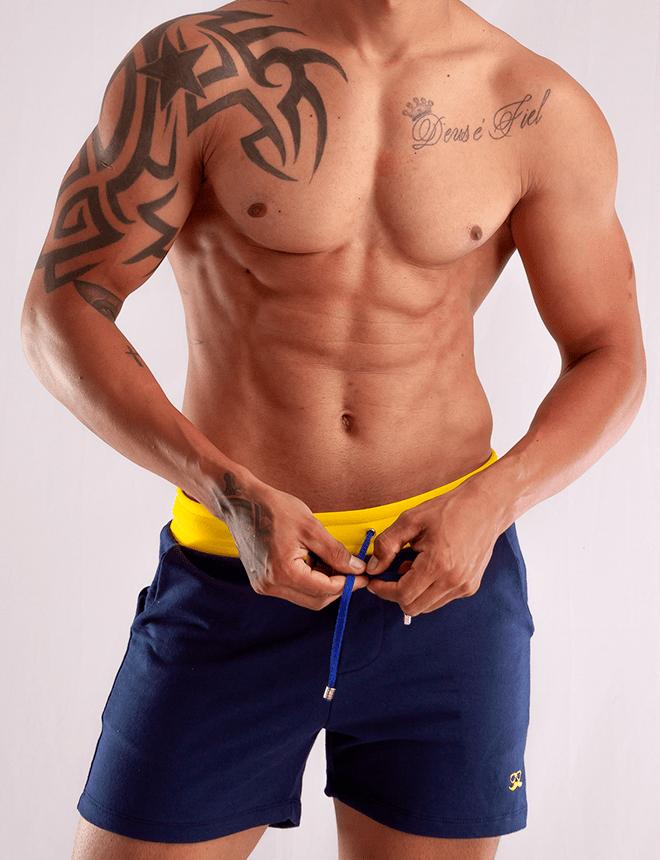 Short de moletom azul com amarelo