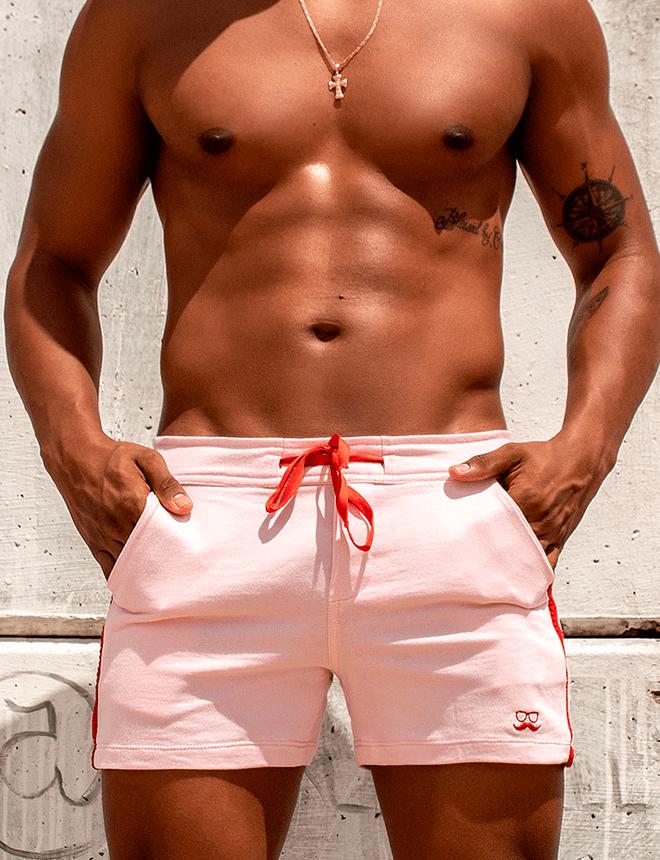 Short de moletom rosa com vermelho