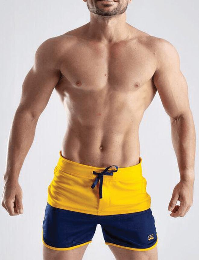 Short duas cores azul e amarelo