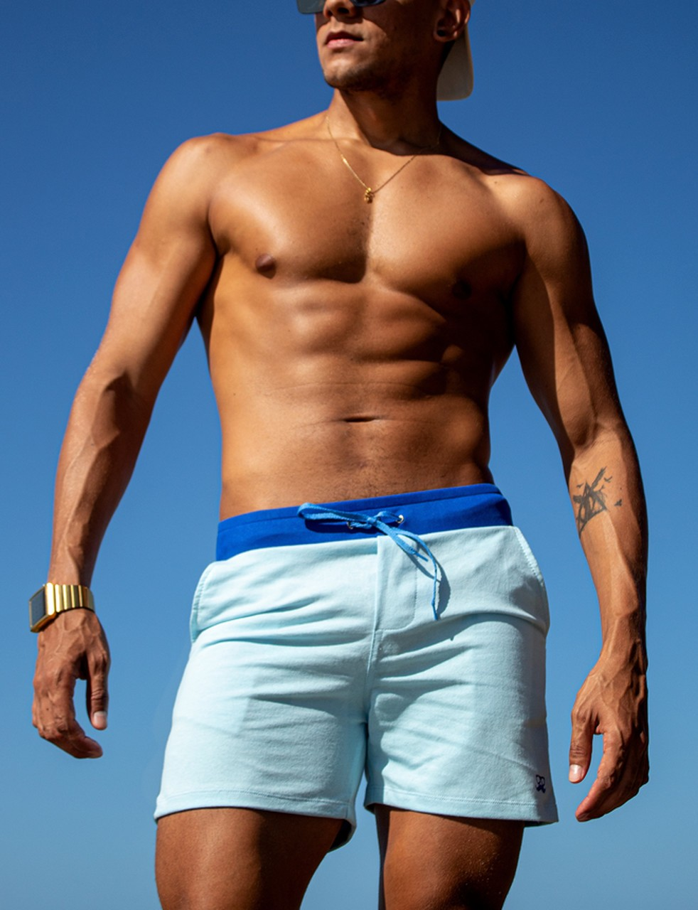 Short masculino de moletom azul bb com azul rayal