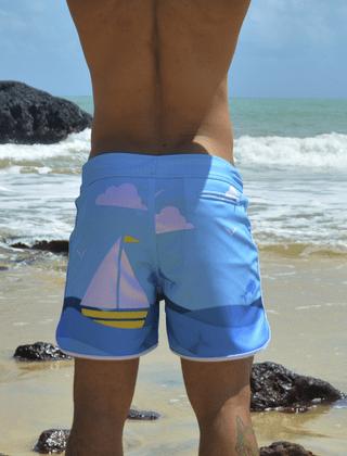 Short masculino estampado barquinho de papel