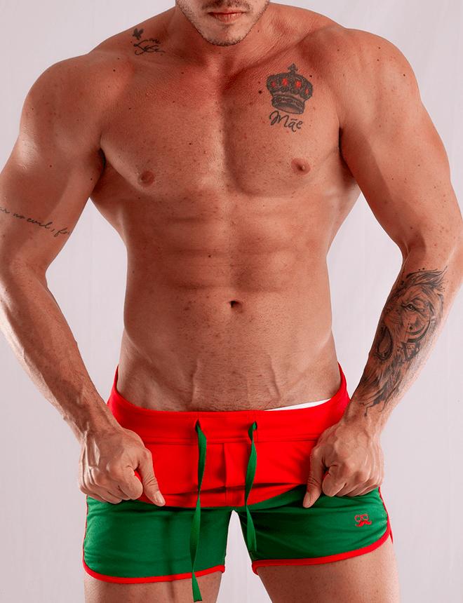Short masculino vermelho com verde