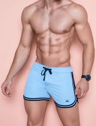 Short verão masculino azul com preto