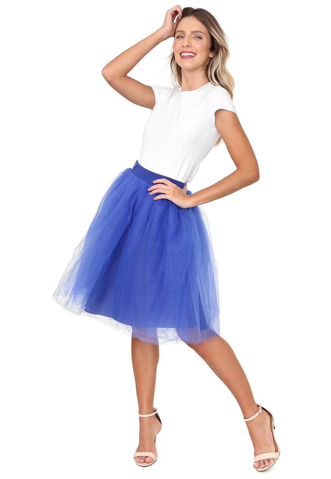 Saia de Tule Midi Amo Tule Fantasia Bailarina Moda Clássica