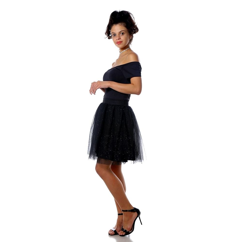 Saia Tule Midi Média Amo Tule Com Brilho Glitter Ballet
