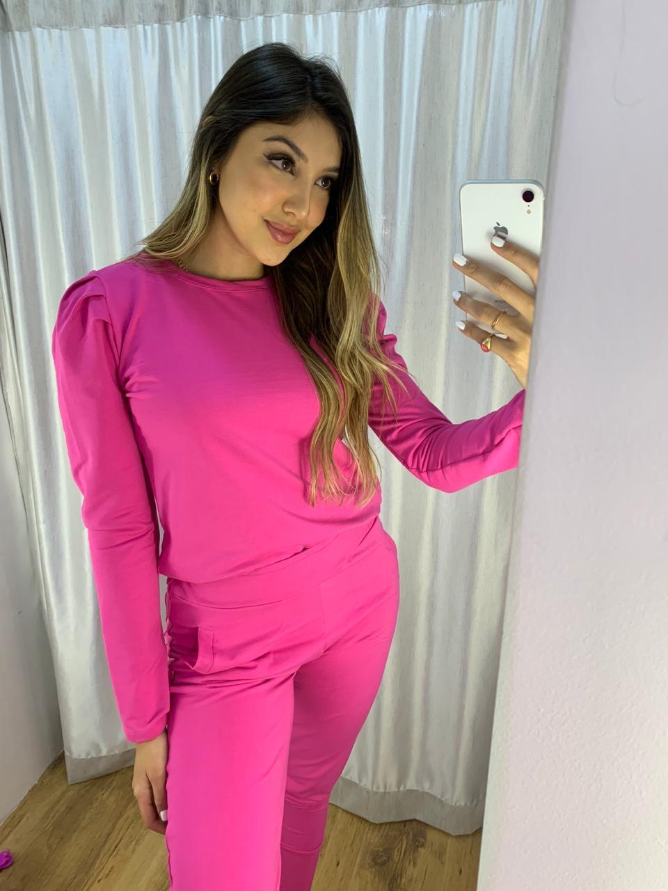 Blusa manga bufante calça cós largo com punho Pink