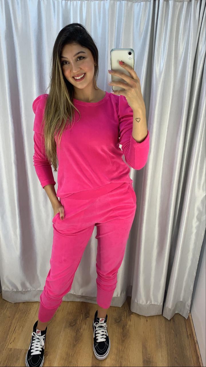 Conjuntinho Confortável Plush Rosa Pink
