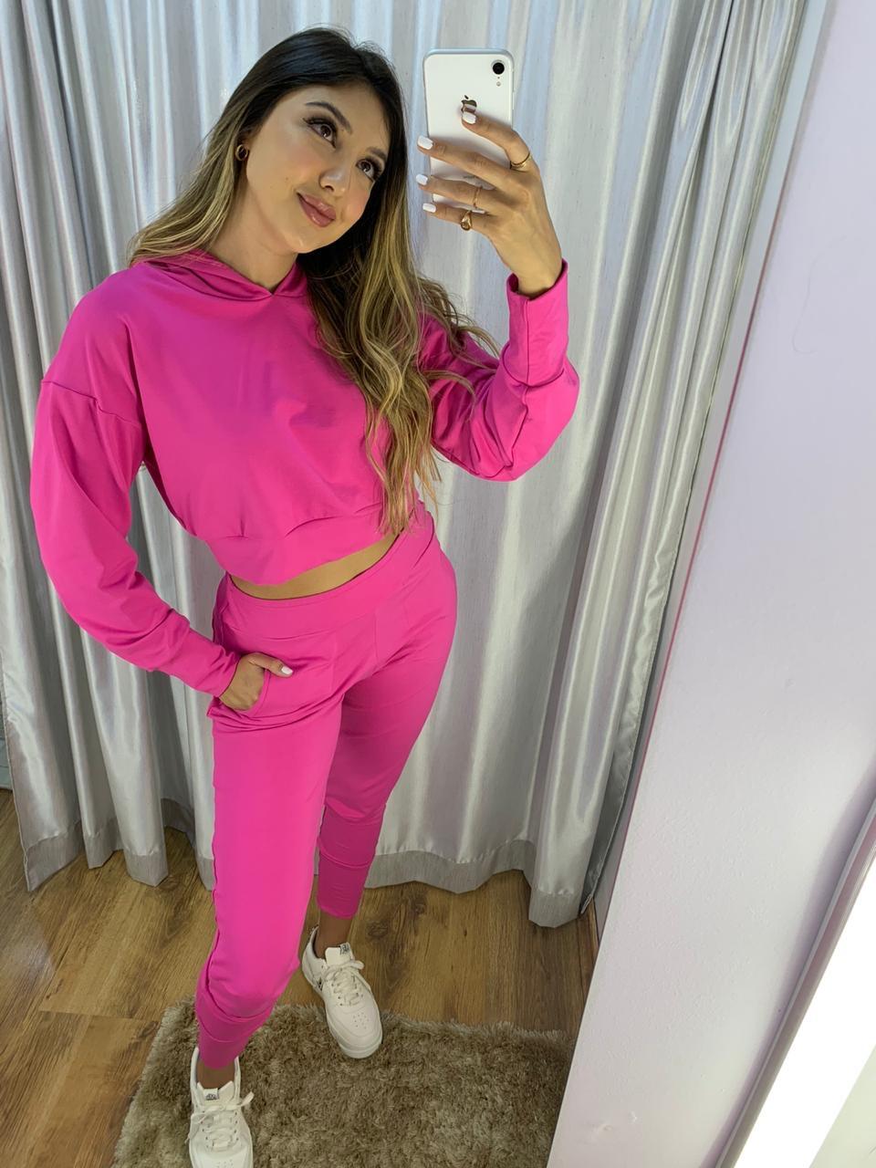 Cropped com capuz calça cós largo com punho Pink