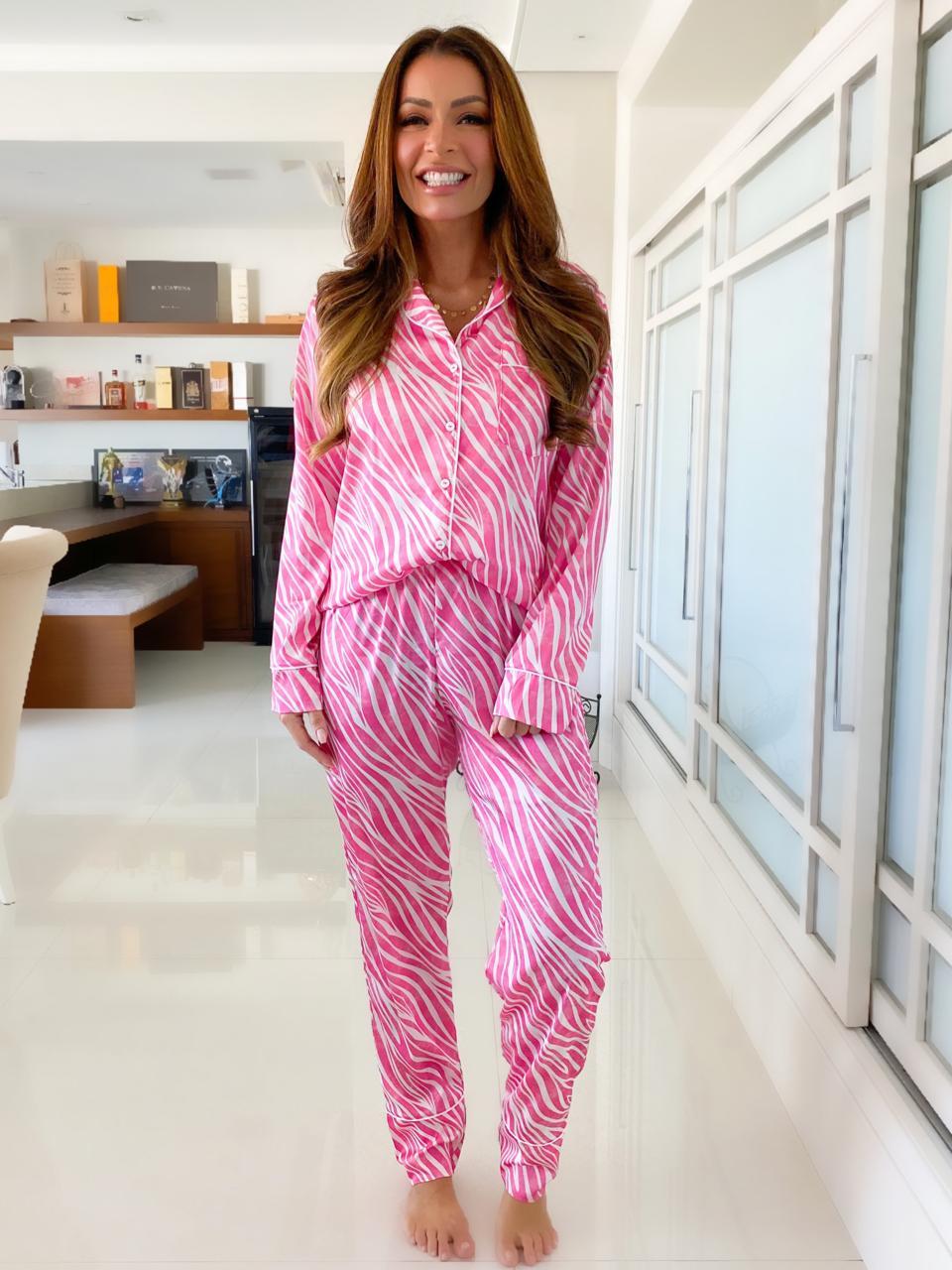 Pijama Aberto De Cetim Zebra Rosa