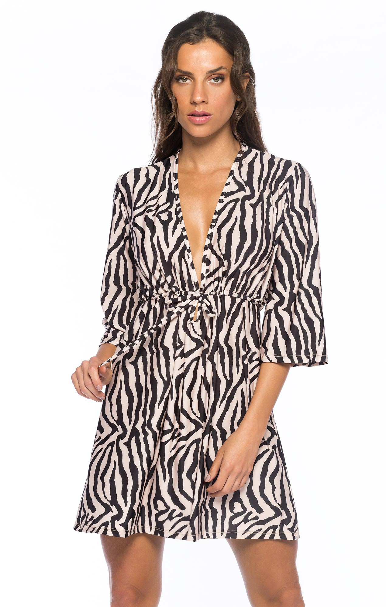 Saída Beach Fechada Zebra Nude