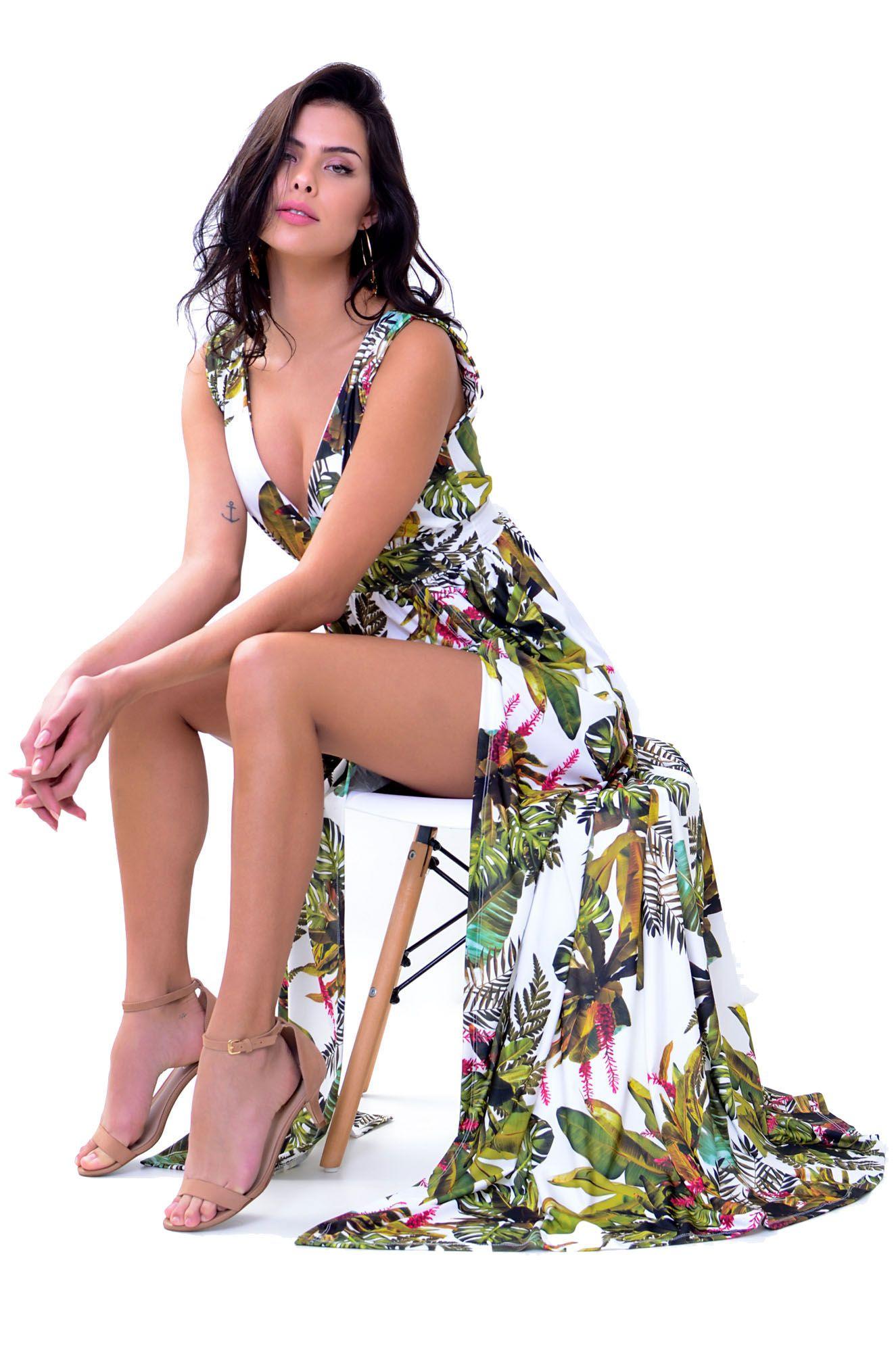 Vestido Longo com Fendas Santorini
