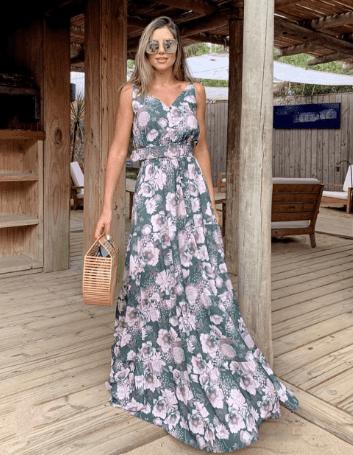 Vestido Longo Floral com Cinto