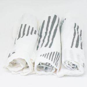flufi uma camada de algodão: grafismo cinza. Kit com 3 unidades